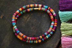 Fall Festival: Rainbow Bone Rondelle Beads / 5x2mm / Dyed Cow Bone, India / Autumn, Tribal, Boho, Yoga Style