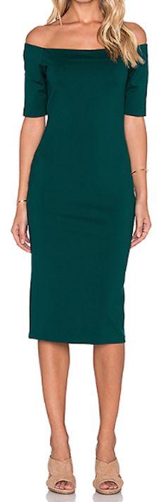 green off the shoulder midi dress