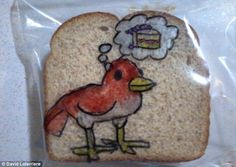The art of a tasty lunch! Father brightens up his sons' sandwich bags by drawing a cartoon every morning before school for five years