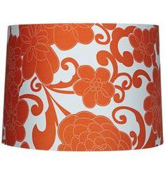 Orange Floral Drum Lamp Shade