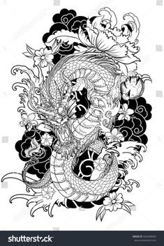 hand-drawn-dragon-tattoo-coloring-book-japanese-style-traditional-ocean-flower-c. - hand-drawn-dragon-tattoo-coloring-book-japanese-style-traditional-ocean-flower-carp-line-drawing-im - Dragon Tattoo Colour, Dragon Tattoo Sketch, Dragon Sleeve Tattoos, Dragon Tattoo Designs, Color Tattoo, Dragon Tattoo With Flowers, Tattoo Sketch Art, Dragon Tattoo Back, Crow Tattoos
