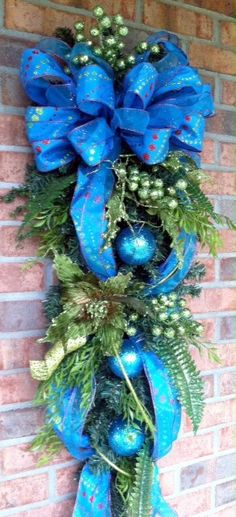 Blue Christmas Swag with lime green pointsetias by LisasLaurels, $69.00