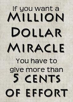 Million Dollar Miracle Hard Work Free Printable