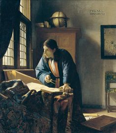 JOHANNES VERMEER THE GEOGRAPHER, 1669 - The significance of the sciences increased by leaps and bounds in the seventeenth century, particularly in Holland. This circumstance is reflected in the fact that scientists and scholars were now much in demand as pictorial motifs. Here is an example.