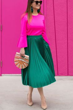 Saguaro Palm Springs Colorful Doors Jennifer Lake Style Charade in a green satin pleated skirt, pink bell sleeve top, Cult Gaia bag, and Steve Madden pumps at the Saguaro Palm Springs colorful doors Satin Pleated Skirt, Green Pleated Skirt, Pleated Skirt Outfit, Dress Skirt, Dress Up, Corset Dresses, Prom Dresses, Colour Combinations Fashion, Color Combinations For Clothes