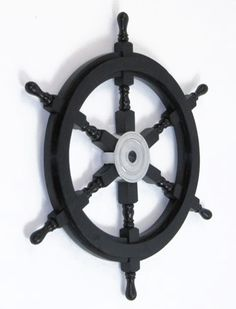 "Black Nautical 24"""" Pirate Ship's Steering Wheel Wooden Playhouse Decor"