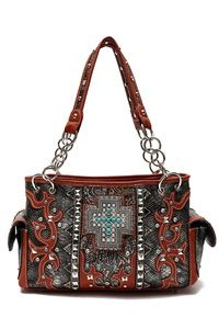 Western Cowgirl Cross And Embo Satchel Bag