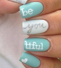 Be you tiful design! Mint and white nails with silver