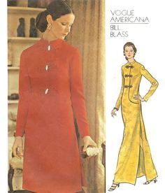 1970s Oriental Style Evening Dress Desginer by willynillyart