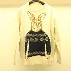 Christmas Style Scoop Neck Long Sleeves Bunny Print All-Match Acrylic Fibers Women's Sweater, APRICOT, ONE SIZE in Sweaters & Cardigans   DressLily.com