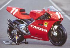 Still one of the most beautiful race motorcycles ever. #cagiva #motorcycle #art #racing #500cc #twostroke #grandprix #madeinitaly #preciselycrafted