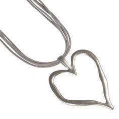 Fashion jewellery. RueB Matt Silver Statement Heart and Grey Leather style Necklace