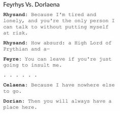 Did this person seriously compare Dorlaena from book 5 to Feyrhys of book 1?
