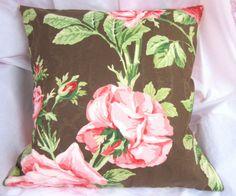 bold roses on dark brown sateen fabric. Custom made SQUARE PILLOW. for laundering pillow or insert. Ebay Shopping, How To Make Pillows, Designer Pillow, Handmade Home Decor, Fabric Decor, Hand Towels, Pillow Shams, Dark Brown, Roses