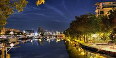 #Canal St Felix  #bluehour #heurebleue #nantes Blue Hour, France, Nantes, Night, Board, French