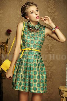 Free Shipping Women High Fashion Beautiful One Piece Chiffon Dress 2013 New Summer Green Vintage Print-in Dresses from Apparel & Accessories on Aliexpress.com