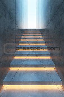 Modern minimalism style stairs with night lighting on Crestock