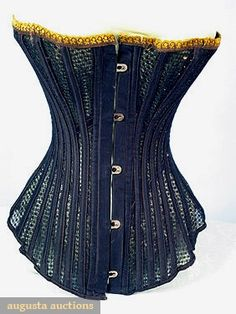 "Ventilated 1880s.  Sold by August Auctions March/April 2005  boned lace w/ black & gold trim, B 26"", W 16"", C L 14"", excellent.  Sold with another for just under $ 600"