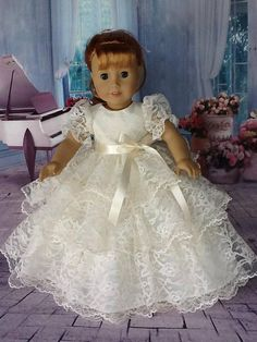 18 inch doll Retro Ruffled dress. Fits American Girl Dolls.