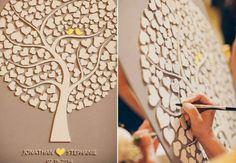 L'arbre à empreintes en 3D Cet arbre à empreintes en 3D est non seulement original, mais aussi mignon avec ses petits cœurs. Chaque invité peut indiquer un petit mot rapide, avant d'apposer sa signature. Cerise sur le gâteau, les deux petits oiseaux symbolisent les deux tourtereaux du jour.