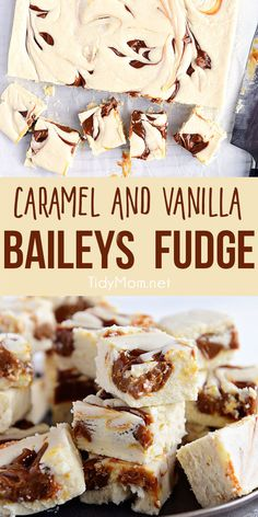 This boozed up Baileys Fudge Recipe has the perfect balance of vanilla bean and Irish cream with a sweet caramel swirled in! This vanilla fudge is easy to prepare and turns out super creamy. Print the full recipe at TidyMom.net #fudge #irishcream #baileys #vanilla #caramel via @tidymom