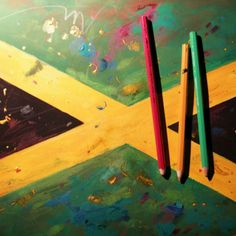 Jamaican Flag painting in the process of the work # coloured pencils# gouache paints #