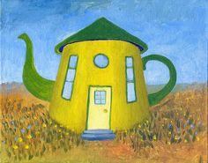 Teapot Print Teapot House Home Sweet Teapot Yellow by JoyceAlice2, $15.00