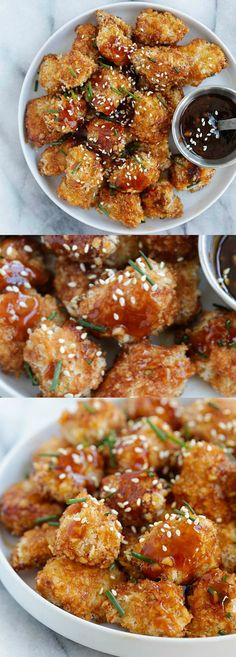 Honey Garlic Chicken Bites – panko-crusted baked chicken nuggets with a sweet and savory honey garlic sauce. So sticky sweet and good   rasamalaysia.com