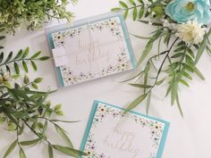 """5-pack/10-pack, """"Happy Birthday"""" Cards & Blue Envelopes, Full Floral Border by LittleOakCardCo on Etsy https://www.etsy.com/listing/261370170/5-pack10-pack-happy-birthday-cards-blue"""