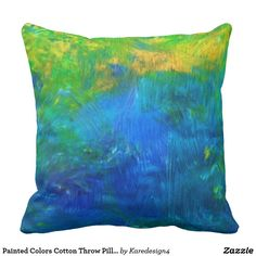 Painted Colors Cotton Throw Pillow