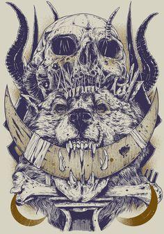 SKULLS by Rafal Wechterowicz, via Behance - this is wild savage beast mode... ravish