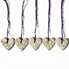 5 Heart Christmas decorations Ceramic with vintage crochet texture decorations £9.00