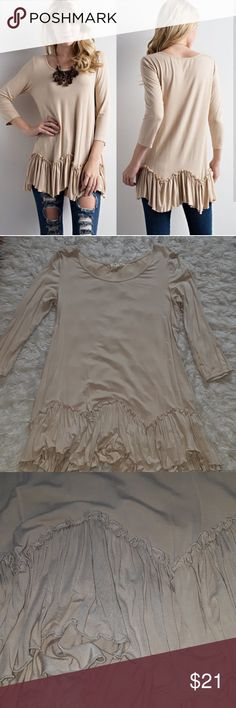 Taupe Ruffled Bottom Top Like-new & adorable ruffled bottom top in the color taupe, size medium (tts with a flowy fit). **Ships same day if ordered by 1pm EST!! **Bundle for discount!! Love Tops