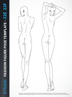 8 Heads Fashion Figure Template, includes two fashion figures from the back view.Both croquis have all body details.