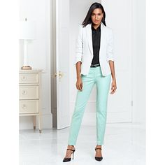 Cropped at the ankle, these mint green pants are a key component in any hard-working wardrobe. #WHBM #WorkMastered