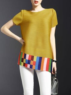 Shop Tunics - Yellow Ribbed Crew Neck Polyester Casual Tunic online. Discover unique designers fashion at StyleWe.com.