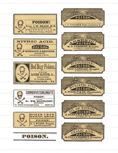 This collage sheet contains Vintage Poison Pharmacy Labels, Various Sizes. These little guys are perfect for making Halloween Potion Halloween Apothecary Labels, Halloween Bottle Labels, Halloween Potions, Apothecary Bottles, Halloween Signs, Halloween Fun, Liquor Bottles, Potion Labels, Potion Bottle