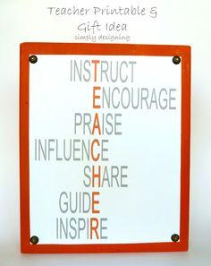 Teacher FREE Printable and Plaque Idea - perfect for teacher appreciation week!