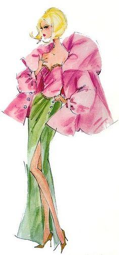 Fashion Illustration Design 〆(⸅᷇˾ͨ⸅᷆ ˡ᷅ͮ˒). Barbie Illustration by Robert Best - Illustration Mode, Fashion Illustration Sketches, Fashion Sketches, Illustration Flower, Fashion Drawings, Illustration Artists, Arte Fashion, Fashion Dolls, Fashion Design