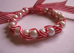 Red Candy striped Pearls and ribbon Bracelet by jewellerybijou, $18.50