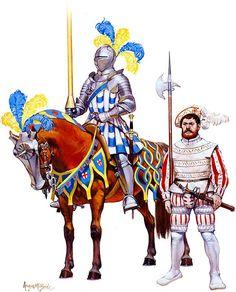 """El ejército de Enrique VIII: Hombre de armas, c. 1540 & Halberdier, bandas entrenadas de Londres, 1539 """""""