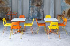 X orange star base cafe table and studio cafe chair