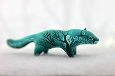 Sale 6 % for all in my shop! Only one day! 3.7 inch in length, velvet clay, acrylic.   I can send it in a way as it is now (Without changes), or can draw on the trees as th... #creature #ooak #shamanic #cat #lion #animal #sculpture #figurine