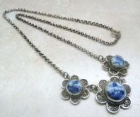 Vintage Sterling Silver Delft Windmill Panel Necklace.