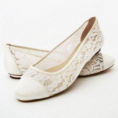Wedding Shoes - Flat Lace Shoes - PBP 0.5 flat - Ivory Color, Pink 2 Blue