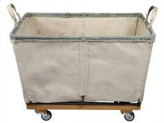 "Vintage Sunbrand Supply ""Steele Basket"" Canvas Laundry Cart"