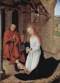 Hans Memling — The Nativity, : Wallraf-Richartz-Museum, Köln, Germany Hans Baldung Grien, Hans Memling, Hans Holbein, Renaissance Kunst, Renaissance Paintings, Art Ancien, Religious Paintings, Religious Art, Art Database