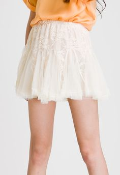 Ivory Skater Lace Tulle Skirt - Skirt - Bottoms - Retro, Indie and Unique Fashion