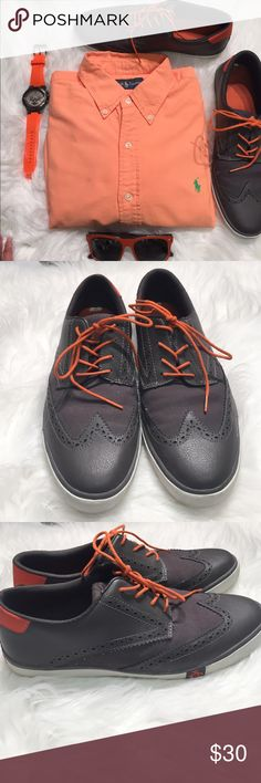 Penguin sneakers Excellent condition, size 11 grey and orange penguin sneakers. Leather upper Original Penguin Shoes Sneakers