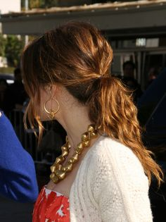 Jessica Biels loose low ponytail hairstyle